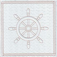 Quilting embroidery design Ship wheel embroidery design