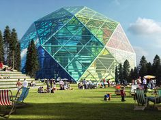 BIG unveils a luminescent geodesic dome biomass power plant, and it's also a public park