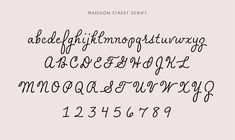 Pointed Pen Calligraphy Font: Madison Street, inspired by Spencerian Script and Ornamental Penmanship. This font was a collaboration between the calligraphy of Flower City Letters and the font creation of Studioways. Cursive Fonts Alphabet, Calligraphy Alphabet, Calligraphy Fonts, Doodle Lettering, Lettering Styles, Brush Lettering, Monogram Fonts, Monogram Letters, Free Monogram