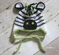 Crochet Zebra Hat Pattern - Repeat Crafter Me : Crochet Zebra Hat Pattern – Repeat Crafter Me Crochet Zebra, Crochet Animal Hats, Crochet Kids Hats, Crochet For Boys, Crochet Beanie, Free Crochet, Knit Crochet, Crochet Olaf Hat, Ravelry Crochet
