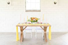 Citrus Inspired Wedding Color Palette | ElegantWedding.ca Table Setting Inspiration, Wedding Inspiration, Head Tables, Wedding Place Settings, Wedding Receptions, Wedding Centerpieces, Wedding Colors, Dining Bench, Table Decorations