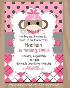 Sock Monkey Birthday Party Invitation - Pink Gray Brown - 1st 2nd birthday - any age - girl - PRINTABLE INVITATION DESIGN