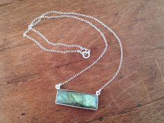 Sterling Slver Necklace with rectangular faceted Labradorite