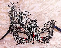 New Luxury Mask Collection - Ruby Black Laser Cut Venetian Masquerade Mask w/ Red Rhinestones - Costume, Masquerade Ball, Homecoming Queen