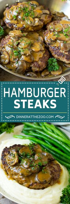 Hamburger Steak with Mushroom Gravy Main Dish Hamburger Steaks mit Pilzsauce Rezept Hamburger Steak Recipes, Hamburger Steak And Gravy, Ground Beef Recipes, Steak Gravy Recipe, Homemade Salisbury Steak, Salisbury Steak Recipes, Steak And Mushrooms, Stuffed Mushrooms, Recipes For Mushrooms