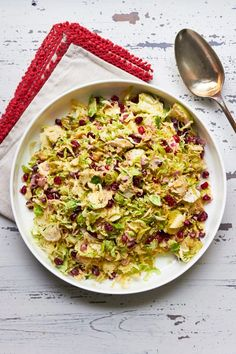 Brussels Sprouts, Apple, and Pomegranate Slaw Salad — The Mom 100 Best Coleslaw Recipe, Apple Coleslaw, Coleslaw Recipes, Shaved Brussel Sprouts, Brussels Sprouts, Ham Salad Recipes, Healthy Recipes, Keto Recipes, Best Meal Prep
