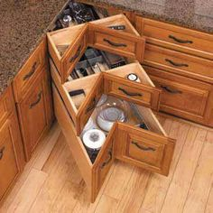 Hmmm...love them or hate them?? Good way to use corner space, but hurt my eyes and not sure you get a lot of usable space at the front of drawers.