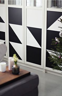IKEA + Contact Paper = DIY Magic. Billy bookcase dressed up with geometric patterns.