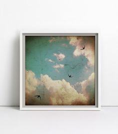 Bild mit Schwalben am sommerlichen Himmel / Poster with fliying birds by goodGirrrl via DaWanda.com