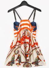 Orange Spaghetti Strap Striped Retro Print Vest - Sheinside.com