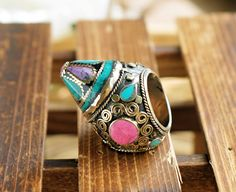Unique pink and blue turquoise ring,Afghan ring,Kuchi spike ring,Statement ring,Turquoise ring,Tribal ring,Gypsy Turquoise ring,Ring for her by ZsTribalTreasures on Etsy