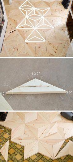 #diy geometric wood flooring