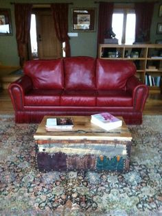 Red Leather Couch  This would enlighten the Sole.