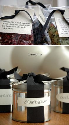 Two terrific ways to package up tea as a gift. Love the tea quotes as gift tags.