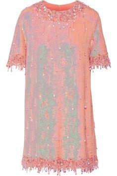 Ashish | Embellished sequined silk-georgette mini dress | NET-A-PORTER.COM