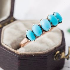 Antique-Vintage-C-1880-Victorian-10k-Gold-Persian-Turquoise-Estate-Ring-Sz-7