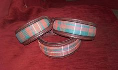 Regalstag Australian Nut Italian leather collars with padded and raised Harris tweed centres.