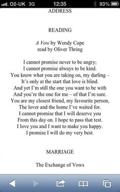 Wedding Poem, brought a tear to my eye! Love Wendy Cope quotes getting married Wedding Poems, Wedding Tips, Trendy Wedding, Perfect Wedding, Our Wedding, Wedding Planning, Dream Wedding, Funny Wedding Vows, Wedding Rustic