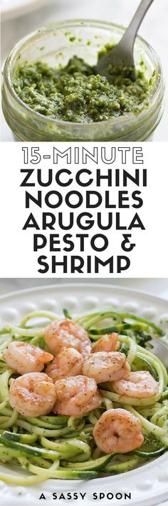 Spiralized zucchini noodles topped with a peppery arugula pesto and sautéed shrimp. A super easy dinner for those busy weeks!
