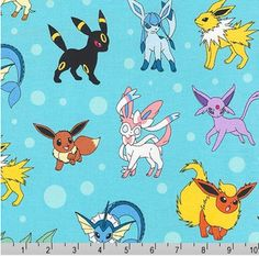 Pokemon Characters Fabric, Pokemon Monsters Fabric, Pikachu on Blue Kaufman fabric 16210 Aqua / Yardage / Pokemon Go Quilt Blanket by SewWhatQuiltShop on Etsy Pokemon Eeveelutions, Eevee Evolutions, Pokemon Characters Names, Cartoon Characters, Pokemon Go, Pikachu, Pokemon Fabric, Aqua Fabric, Baby Fabric