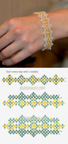 (для бисера) Free pattern for bracelet Teresa Beaded Bracelets Tutorial, Beaded Bracelet Patterns, Seed Bead Bracelets, Seed Bead Jewelry, Jewelry Patterns, Beaded Jewelry, Jewellery, Seed Beads, Seed Bead Patterns