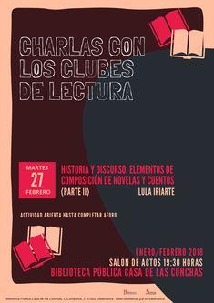 Lula Iriarte,el martes 27 de febrero a las 19.30h. Salón de Actos, continúa la conferencia sobre los elementos de la composición en el cuento y la novela.