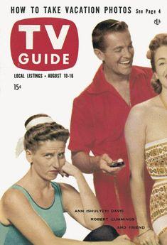 TV Guide, August 10, 1957 - Ann (Shultzy) Davis, Robert Cummings, and friend