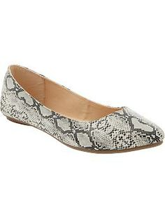 Womens Animal-Print Pointed Flats in Snake from Old Navy