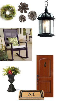 Love the rocker, Front Porch ideas Outdoor Spaces, Outdoor Living, Outdoor Decor, Front Porch Design, Decks And Porches, Front Door Decor, Porch Decorating, Porch Ideas, Modern Design