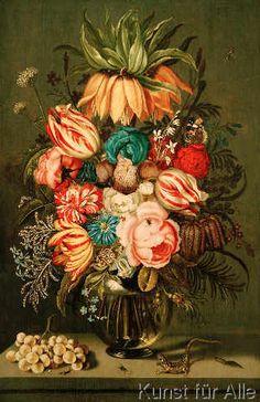 Ambrosius Bosschaert der Jüngere - Bouquet of Flowers in Glass Vase with Accessories,