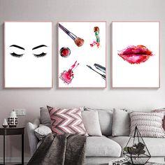 Canvas Wall Decor, Home Decor Wall Art, Room Decor, Room Posters, Poster Wall, Makeup Canvas, Fashion Posters, Canvas Art Quotes, Beauty Salon Decor