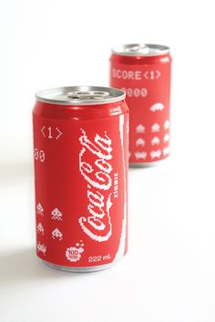 Retro 8-Bit Styled Coca Cola Cans