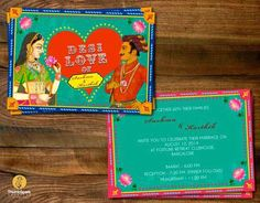 """""""Desi Love"""" A quirky wedding card for an amazingly FUN couple - Sushma & Karthik Illustrated Wedding Invitations, Indian Wedding Invitation Cards, Wedding Invitation Card Design, Indian Wedding Cards, Unique Wedding Invitations, Wedding Card Design, Invites, Quirky Wedding, Wedding Fun"""
