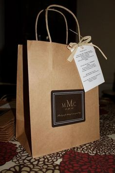 Wedding Welcome Bags Anthropology Woodland Classic Style Guest bag Brown and champagne by absolutelyeva on Etsy https://www.etsy.com/listing/74067245/wedding-welcome-bags-anthropology