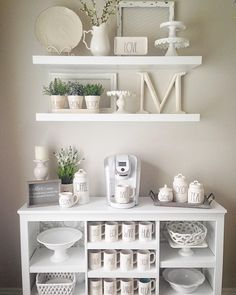 Farmhouse shelves Rae Dunn mug display #shelves_decor_display