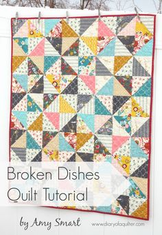 "BROKEN DISHES BABY QUILT TUTORIAL BY AMY SMART Easy DIY baby quilt made with half-square triangles. Perfect for a scrappy quilt.the traditional ""Broken Dishes"" layout of half square triangle blocks. It's such a simple pattern –40″ x 50″ crib quilt"