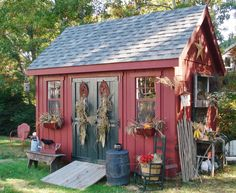 Backyard Shed -- Concentrate on the landscaping around your garden shed to anchor it and soften the edges. Create displays on each side of your shed for lots of visual appeal. It will keep your guests wondering what is on the other side! Outdoor Sheds, Outdoor Gardens, Backyard Sheds, Rustic Gardens, Painted Shed, Painted Garden Sheds, Shed Landscaping, Potting Sheds, Potting Benches