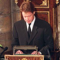 Earl Charles Spencer giving the eulogy for his sister's funeral, September 6, 1997