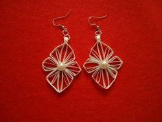 Paper Quilled Earrings  White with simulated by PeggysCraftaLatte, $15.00