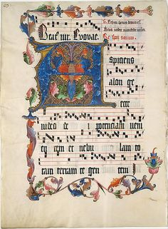 Leaf from an Antiphonary with the Initial A Date: ca. 1425–50 Geography: Made in Mainz, Germany Culture: German Medium: Tempera, ink, and metal leaf on parchment