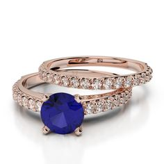Gold / Platinum Round cut Tanzanite and Diamond Bridal Set Ring Bridal Ring Sets, Gold Platinum, Black Diamond, Bracelet Watch, Cuff Bracelets, Emerald, Gold Rings, Sapphire, Wedding Rings
