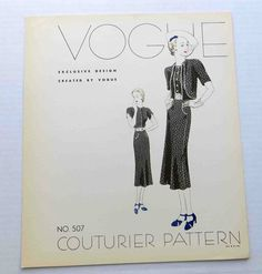 Vogue Couturier Pattern 507   ca. 1937 Dress and jacket   reissued in the 1990s as Vogue 2560