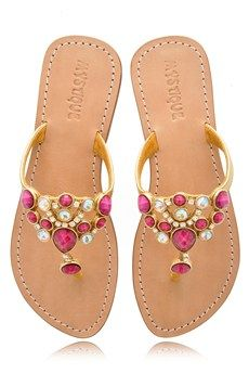 abf955918748ee MYSTIQUE Fuchsia Jeweled Sandals - SHOES