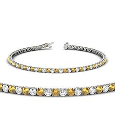 Citrine and Diamond (SI2-I1-Clarity, G-H-Color) Tennis Bracelet 1.65 ct tw in 14K Gold