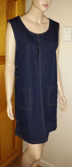 Orvis denim jumper with brass buttons size L #Orvis #jumper