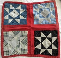ANTIQUE DOLL QUILT Star Design. Circa 1920.  Hand Stitched In Reds and Blues.