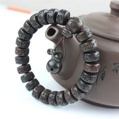 Vintage Tibetan Mala Prayer Beads Bracelets Men & Women Jewelry Wooden Buddhist Six Mantra Sculpture Wood Meditation Bracelets