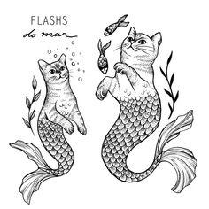 4 Tattoo, Tattoo Drawings, Body Art Tattoos, Blackwork, Arte Latina, Mermaid Cat, Posca Art, Muster Tattoos, Tattoo Flash Art