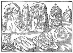 Ole Worm's depiction of the Hunnestad monuments before all but three were destroyed. Hunnestad in Marsvinsholm north-west of Ystad, Sweden