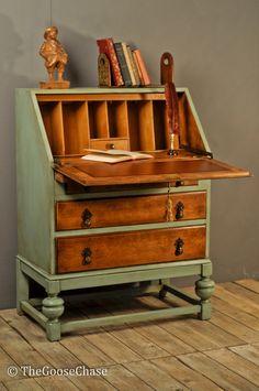 Vinatge Oak Three Drawer Upcycled Bureau by TheGooseChase on Etsy,